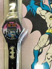 1989 Quintel Batman LCD Digital Watch Glow-In-The-Dark Bat Emblems New On Card