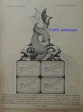 PUBLICITE MALACEINE SAVON MONPELAS FONTAINE EAU CLAIRE ART DECO DE 1921 AD RARE