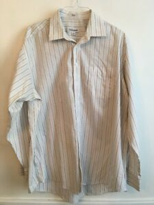 18 (36/37) Joseph & Feiss Men's Non-Iron White Striped Button Down