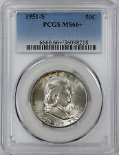 1951 S FRANKLIN HALF DOLLAR 50C PCGS CERT MS 66+ MINT STATE PLUS (218)