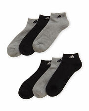 NWT 6-PACK PAIRS ADIDAS MEN'S BLACK GRAY LOW CUT SOCKS ONE SIZE 6-12