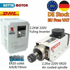 2.2KW square air cooled spindle motor ER20 4bearing+2.2KW inverter+4P collet【EU】