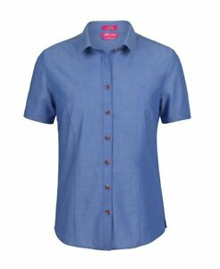 Jb's wear Ladies S/S Classic Fine Chambray Shirt Bust and Waist Daunts Curve Hem