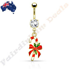 Jewelled Gold Ion Plated Belly Ring with Christmas Candy Cane Dangle