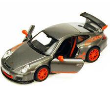 New Kinsmart 2010 Porsche 911 GT3 RS Diecast Toy Model 1:36 Pull Action Grey