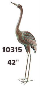 Garden Decor Bird Statuary - Standing Art Large Crane Up 10315