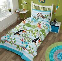 Childrens Duvet Cover - Single Cotton Blue Bedding Set Rainforest Animals Bedset