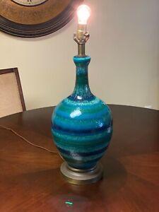 MidCentury Modern Pottery Ceramic Green Blue BITOSSI Italy Table Lamp Italian