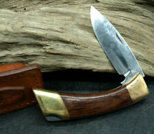 Browning Model 181 F Lockback Knife With Leather Sheath Mint & Rare USA (E1)