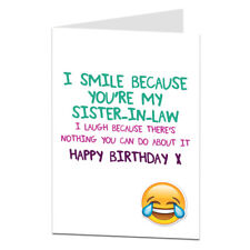 Funny Sister-In-Law Birthday Card Cards I Smile