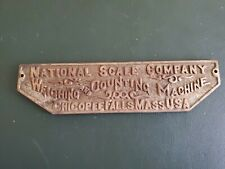 ANTIQUE NATIONAL SCALE CO WEIGHING & COUNTING MACHINE CAST IRON ADVERTISING SIGN