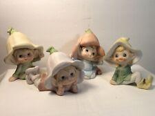 Vintage Homco 4 Piece Pixie Elf Set