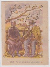 90042 Künstler AK FDGB Für ein glückliches Lebensalter - Rentner sitzen auf Bank