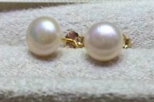 wholesale AAA akoya 9-8mm white pearl earrings 14k Gold Limited time promotion!