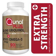 Qunol Plus Ubiquinol CoQ10 100 mg + Omega 3 Fish Oil Extra Strength, 90 Softgels