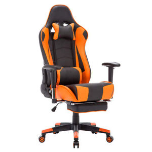Gaming Office Chair Adjustable With Footrest Chair Home Black Orange