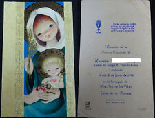 ESTAMPA PRIMERA COMUNION PARROQUIA VIRGEN DE VIÑAS JEREZ 1968 HOLY CARD   CC1243