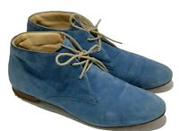 TOD'S BLUE SUEDE LACE UP FLAT BOOTS, 38, $795