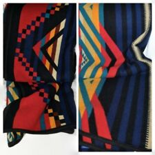 Vtg PENDLETON BLANKET Native American Diamond Geometric Reversible 62x74 Blue