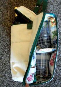Picnic Travel Shoulder Wine Tote Bottle Carrier w/ 2 Glasses - Wine not incl