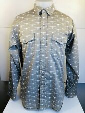 PANHANDLE SLIM Western Rockabilly Lg. LONGHORN SKULL Cowboy PEARL SNAP Shirt