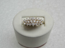 14K Yellow Gold Cluster Ring With Cubic Zirconia Signed Dq Size 6 3/4 Ng33-N