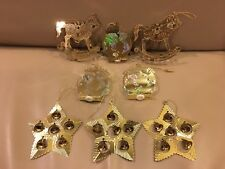 Vintage 3D Gold Toned 8 Metal Christmas Ornaments 1992 Peace Star Rocking Horse