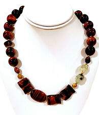 "Barse Tiger's Eye & Green Quartz Beaded Statement Necklace 20"" NEW"