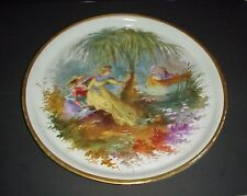 Antique Porcelain Round Serving Tray Victorian Hand Painted Love Scene 17""