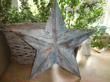 STAR WOODEN SHABBY CHIC BLUE LARGE PAINTED DISTRESSED DECORATION...Lovely item!!