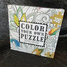 "Color Your Own Puzzle 18"" x 24"" 300 Piece New In Box Floral Leaves"