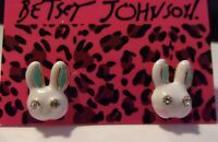 NWT BETSEY JOHNSON CRYSTAL WHITE RABBIT BLUE EARS SMALL ENAMEL STUD EARRINGS