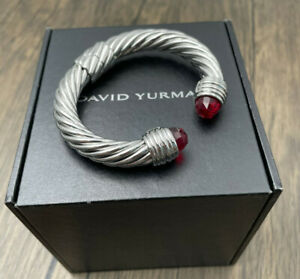 DAVID YURMAN Classic 10MM Cable Garnet Sterling Silver Cuff Bracelet