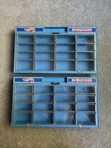 Lot of 2 Vintage Mattel's 1981 Hot Wheels 16 Car Blue Showcase - Used