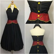 Ladies Black Red Yellow 50s Vintage Retro Rockabilly Halter Neck Dress Size 8/10