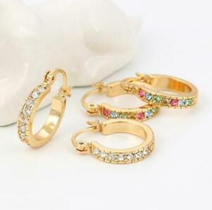 """9ct 9K Yellow """"Gold Filled"""" Ladies Lovely Stone Small Hoop Earrings 19mm Xmas"""