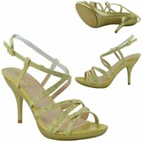 Womens Slingback High Heel Strappy Dress Sandals w/ Rhinestones Gold Sz 5.5-10