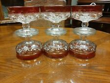 6 Tiffin-Franciscan Kings Crown Ruby Red Flashed Thumbprint Sherbet Champagne