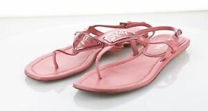 X41 MSRP $650 Women's Sz 36.5 M Prada Patent Leather Logo Sandals - Pink