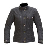 Merlin Motorbike Motorcycle Womens Ladies Tutbury C4X Wax Textile Jacket - Black