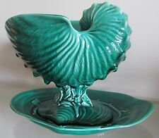 Wedgwood Green Majolica Nautilus Shell Coral Centrepiece Bowl & Underplate=1955.