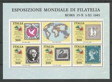 """REPUBBLICA ITALIANA - 1985 """"Francobolli dei 5 continenti"""" BF**"""