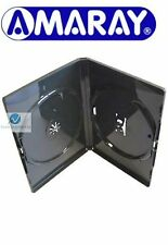 5 Double Black DVD Case 14 mm Spine New Replacement Cover Holds 2 Disks Amaray
