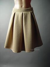 Quilted High Waist Kick Pleat Women Work 70s Flared A-Line Full 99 ac Skirt S/M
