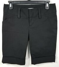 Alice + Olivia Black Cady Cuff Fabric Wide Waistband Shorts (Sz 0)