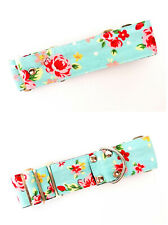 """1.5"""" Martingale Dog Collar Blue Cabbage Rose SMALL 10""""-15"""" Whippet Lurcher"""