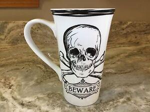 222 Fifth Skull Coffee Mug. Beware. Porcelain. 16 Ounces. New