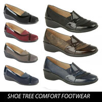 Womens Ladies Wedge Mid Heel Casual Office Work Comfort Square Toe Shoes Sizes