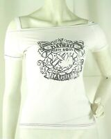 Top T-Shirt Donna PLAYBOY Maglia Maniche Corte D170 Bianco Tg S