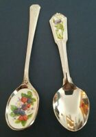 AVON Inlaid Porcelain Spoon Berries Purple Flower Stainless Japan Scotland